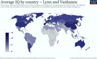 ضریب هوش متوسط مردم کشورهای جهان